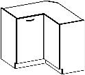 CHAMONIX, skříňka dolní rohová 89/89 cm DN 1F BB, dub Ferrara/ legno tmavé