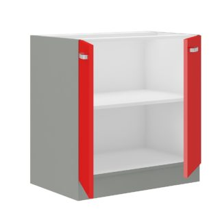 ROSE, skříňka dolní 80 D 2F BB, šedá / červený lesk