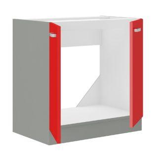 ROSE, skříňka pod dřez 80 ZL 2F BB, šedá / červený lesk