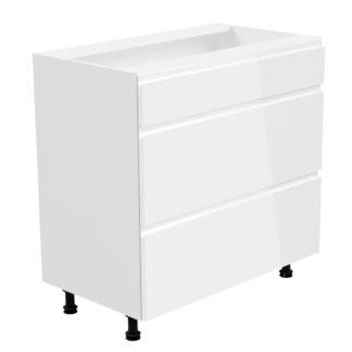 ASPEN, skříňka dolní D80S3, bílá/bílý lesk