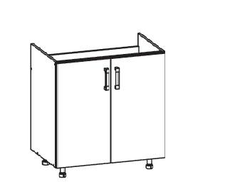 PLATE PLUS dolní skříňka DK80 pod dřez, korpus šedá grenola, dvířka světle šedá
