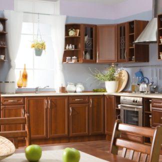 Rohová kuchyně SYCYLIA 310/190 cm, ořech milano
