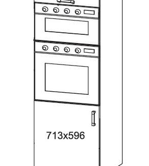 PLATE PLUS vysoká skříň DPS60/207O, korpus ořech guarneri, dvířka světle šedá