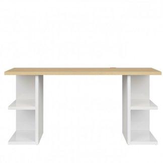 Psací stůl DENTON BIU/160, bílý lesk/dub polský