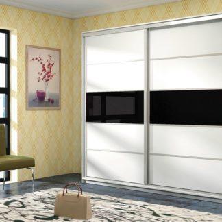 DUBAJ, šatní skříň, bílá/černé sklo