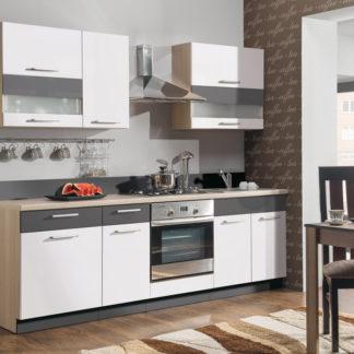Kuchyně MODENA 240/180 cm, bílý lesk/grafit mat