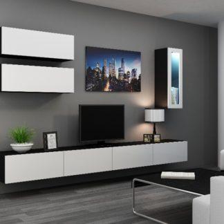 Obývací stěna VIGO 12, černá/bílý lesk