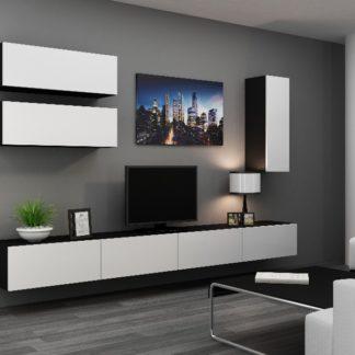 Obývací stěna VIGO 13, černá/bílý lesk