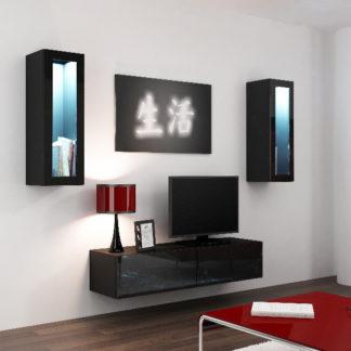 Obývací stěna VIGO 8, černá/černý lesk