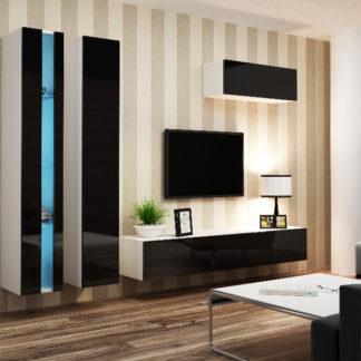 Obývací stěna VIGO NEW 1, bílá/černý lesk