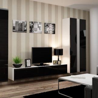 Obývací stěna VIGO 1, bílá/černý lesk