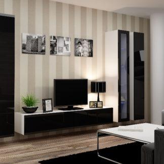 Obývací stěna VIGO 2 A, bílá/černý lesk