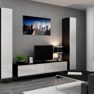Obývací stěna VIGO 4 B, černá/bílý lesk