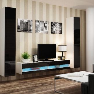Obývací stěna VIGO NEW 4, bílá/černý lesk