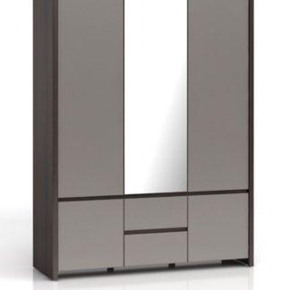 KASPIAN, skříň SZF5D2S, šedý vysoký lesk
