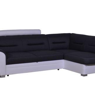 Rohová sedačka TOLEDO se záhlavníkem, pravá, látka šedá/bílá ekokůže