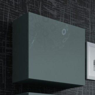 Vitrína čtvercová VIGO, šedá/šedý lesk