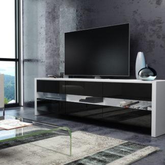 FOX televizní stolek, bílá/černý lesk