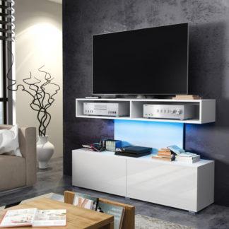 REX televizní stolek, bílá/bílý lesk