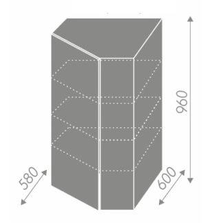 PLATINUM, skříňka horní rohová W4/10 60, korpus: lava, barva: vanilla