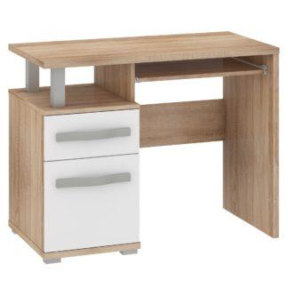 ANGEL PC stůl 1D1S, dub sonoma/bílý lesk