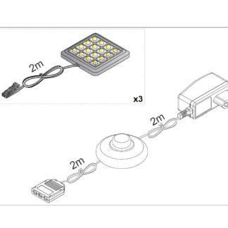 LED osvětlení ALABAMA UNTERBAU II 3x, bílé
