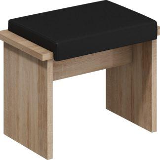 BOND, taburet malý, dub sonoma sv./černá ekokůže