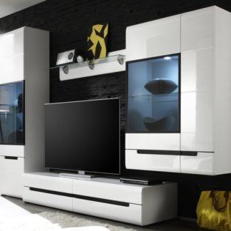 HEKTOR obývací stěna 11, bílá/bílý lesk