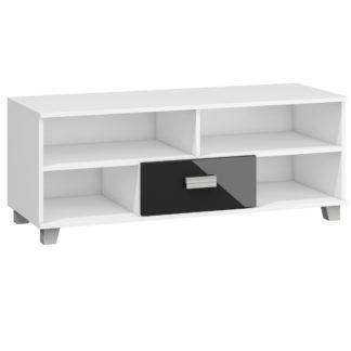 SOLO, RTV stolek SOL-06, bílá/černý lesk