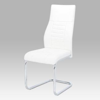 Jídelní židle bílá koženka / chrom HC-955 WT