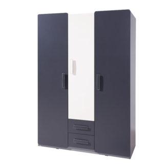 Šatní skříň LIDO SZ3D2SZ, šedá/grafit+bílá
