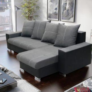 Rohová sedačka GORDI 1, šedá látka/černá ekokůže