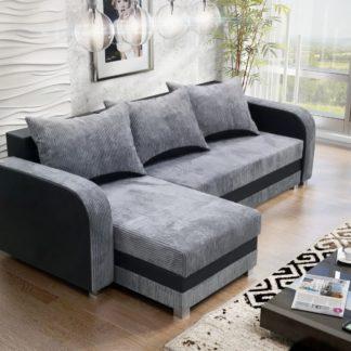 Rohová sedačka LUTON 6, šedý manšestr/černá ekokůže