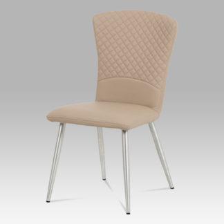 Jídelní židle HC-666 CAP, koženka cappuccino/broušený nerez