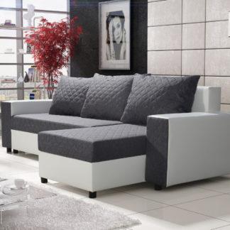 Rohová sedačka FIESTA 3, šedá látka/bílá ekokůže