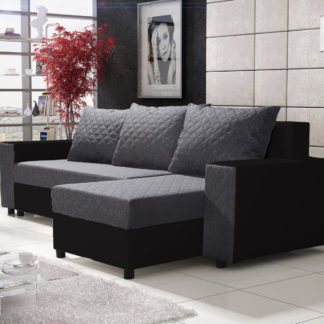 Rohová sedačka FIESTA 4, šedá látka/černá ekokůže
