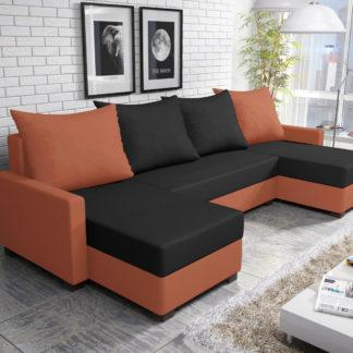 Rohová sedačka FIESTA U 4, černá látka/oranžová látka