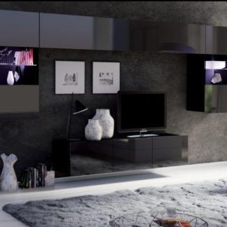 Obývací stěna CALABRINI, černá/černý lesk