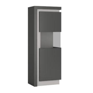 LYON LYOV01P vitrína vysoká 1D pravá, šedé platinum/šedý lesk