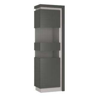 LYON LYOV03L vitrína 1D levá, šedé platinum/šedý lesk