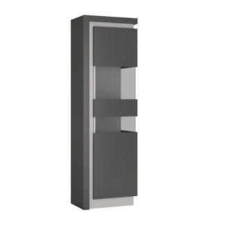 LYON LYOV03P vitrína 1D pravá, šedé platinum/šedý lesk