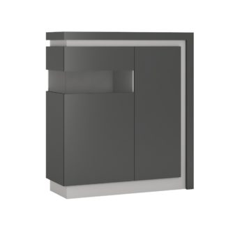LYON LYOV04L vitrína 2D levá, šedé platinum/šedý lesk
