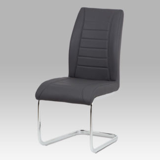 Jídelní židle HC-375 GREY, šedá koženka/chrom