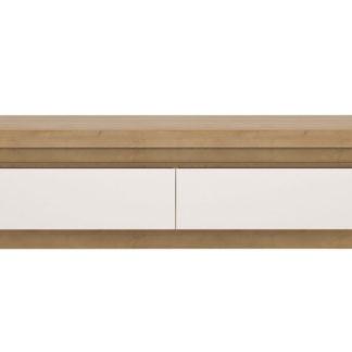 LYON LYOF01 televizní stolek RTV 2S, dub riviera/bílý lesk