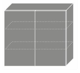 EMPORIUM, skříňka horní W3 80, korpus: lava, barva: grey stone