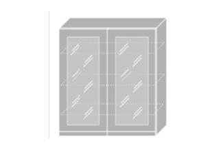 EMPORIUM, skříňka horní prosklená W4S 90, korpus: grey, barva: light grey stone