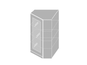 EMPORIUM, skříňka horní rohová prosklená W4 10S/60, korpus: grey, barva: grey stone