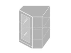 EMPORIUM, skříňka horní rohová prosklená W 10S/60, korpus: lava, barva: white