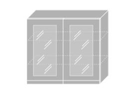 EMPORIUM, skříňka horní prosklená W3S 80, korpus: grey, barva: grey stone