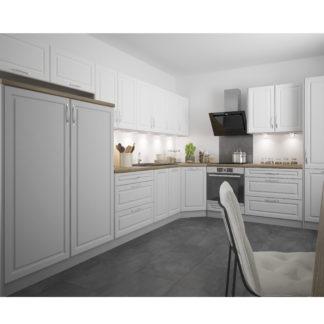 Rohová kuchyně EMPORIUM 450/570 cm, korpus grey, dvířka light grey stone + white